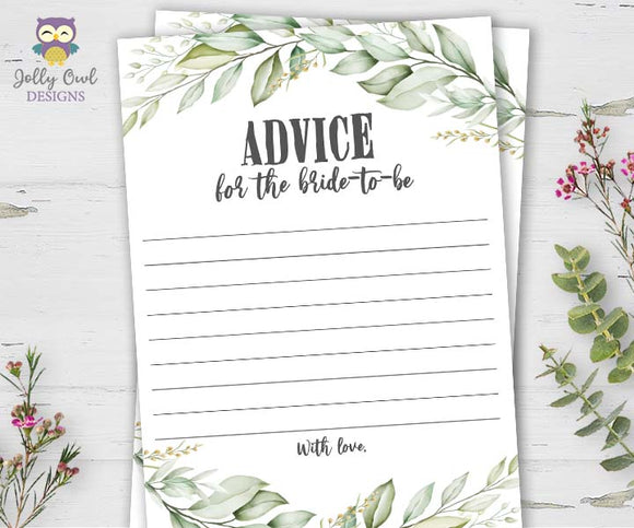 Botanical Greenery Bridal Shower Game - Advice for the Bride To Be
