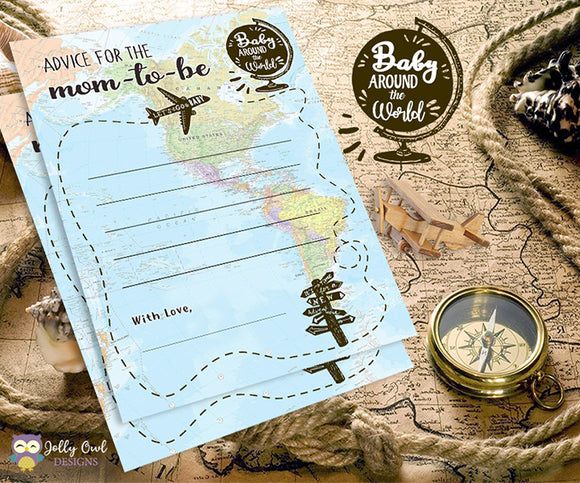 Baby Around The World Baby Shower Game Card - Advice for Mom to Be