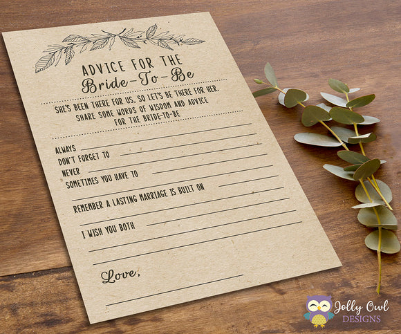 Rustic Themed Bridal Shower game - Advice for the bride to be - Jolly Owl Designs