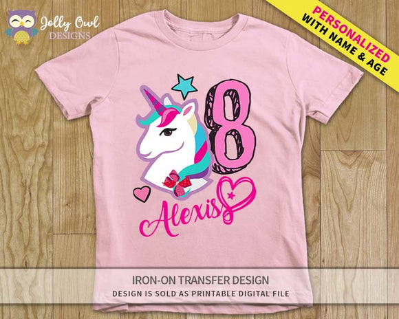 Jojo Siwa Personalized Iron On Transfer Design / For Age 8