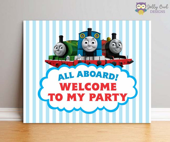 Thomas The Train Birthday Party Sign - All Aboard Welcome Sign - Jolly Owl Designs