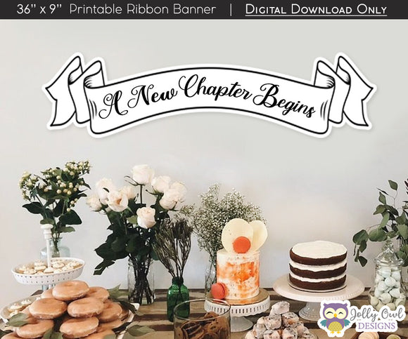 Printable Storybook Themed Baby Shower Decoration - A New Chapter Begins Ribbon Banner
