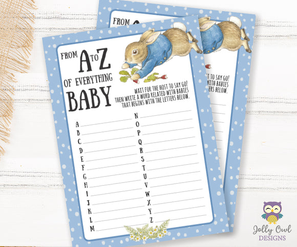 Peter Rabbit Themed Baby Shower Game A to Z Baby Words