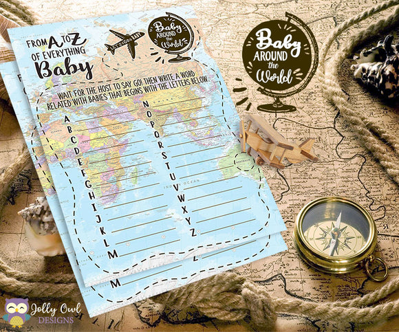 Baby Around The World Baby Shower Game Card - A to Z of Everything Baby