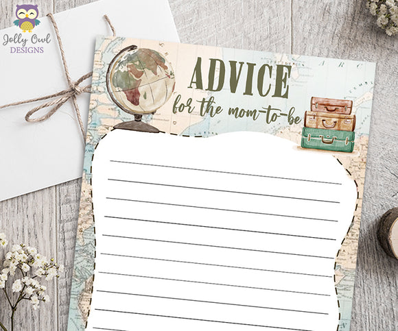 Advice for the Mom To Be - Travel Themed Baby Shower Game Activity