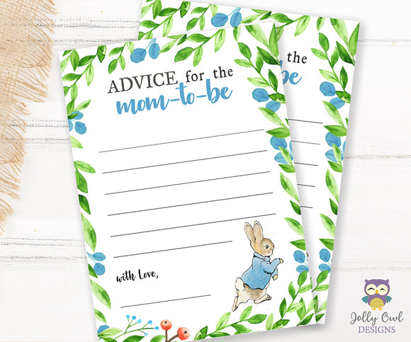 Peter Rabbit Themed Baby Shower Game Card Advice for the Mom To Be