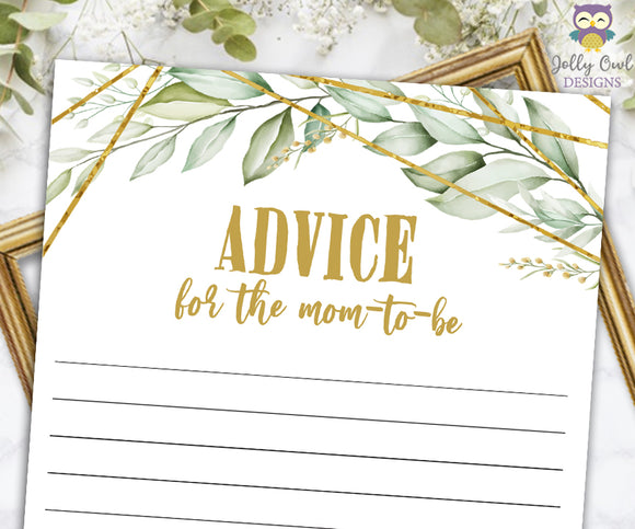 Gold Geometric Botanical Greenery Baby Shower Game - Advice for the Mom To Be