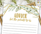 Gold Geometric Botanical Greenery Baby Shower Game - Advice for the New Parents