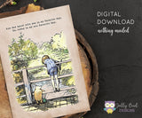 Vintage Classic Winnie The Pooh Quotes - Christoper and Pooh Poohsticks at Bridge - Any Day Spent With You Is my Favorite Day, So Today Is My New Favorite Day / Wall Art Digital Download