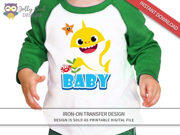 Baby Shark Iron On Transfer Design