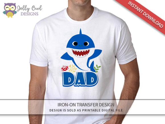 Baby Shark Iron On Transfer Design for Dad