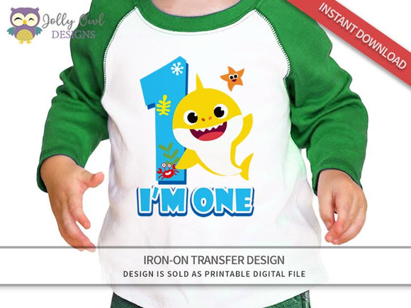 Baby Shark Iron On Transfer Design - For Age 1