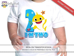 Baby Shark Iron On Transfer Design - For Age 2