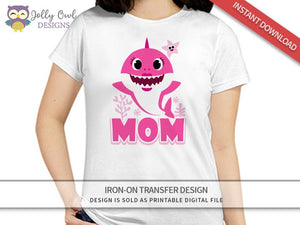 Baby Shark Iron On Transfer Design for Mom