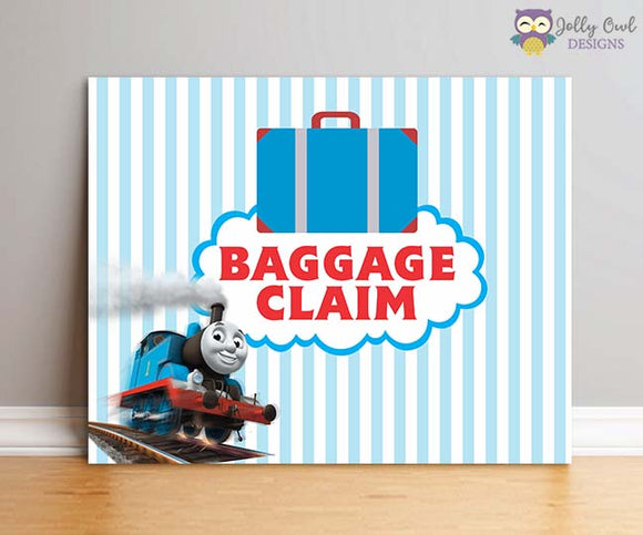 Thomas The Train Birthday Party Sign - Baggage Claim - Jolly Owl Designs