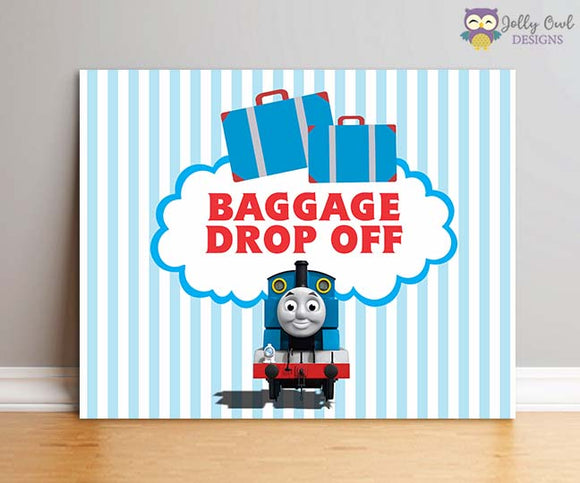 Thomas The Train Birthday Party Sign - Baggage Drop Off - Jolly Owl Designs