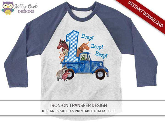 Little Blue Truck Iron On Transfer Shirt Design 1st Birthday / Age 1 - Jolly Owl Designs