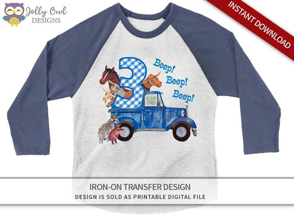 Little Blue Truck Iron On Transfer Shirt Design for 3rd Birthday