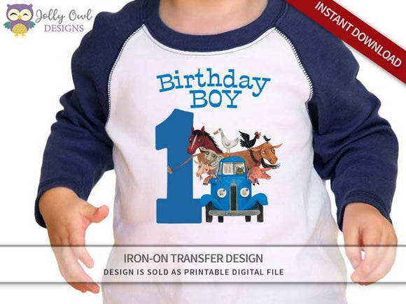 Little Blue Truck Iron On Transfer Shirt Design 1st Birthday / Birthday Boy / Age 1