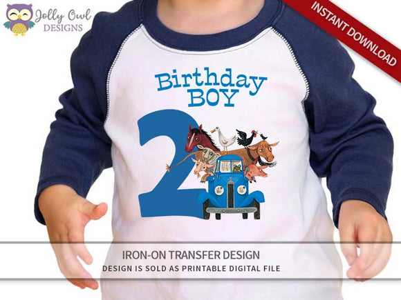 Little Blue Truck Iron On Transfer Shirt Design / Birthday Boy / Age 2
