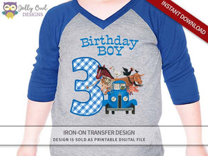 Little Blue Truck Iron On Transfer Shirt Design for Birthday Boy / Age 3