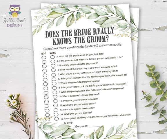 Botanical Greenery Bridal Shower Game - Does the Bride Knows the Groom?