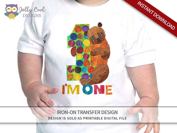 Brown Bear, Brown Bear, What Do You See? Iron On Transfer Design 1st Birthday Shirt - Jolly Owl Designs