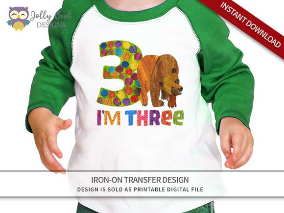 Brown Bear, Brown Bear, What Do You See? Iron On Transfer Design 3rd Birthday Shirt