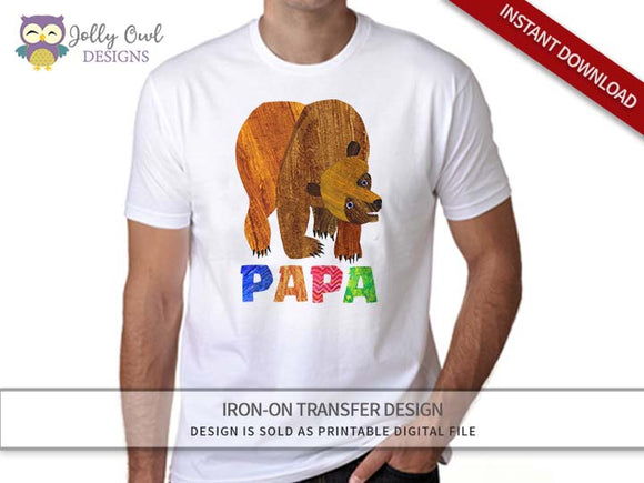 Brown Bear, Brown Bear, What Do You See? Iron On Transfer Design For PAPA - Jolly Owl Designs