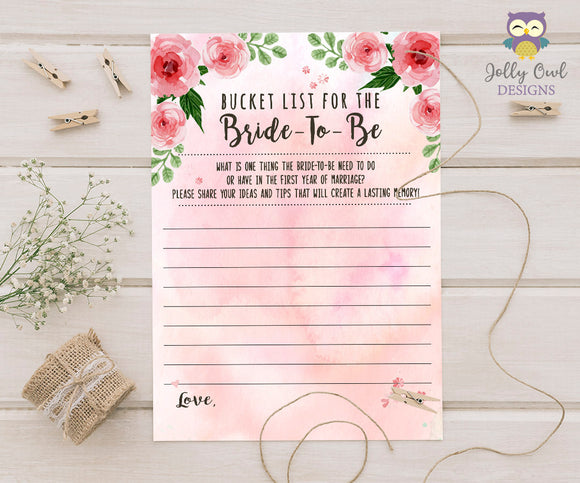 Floral Watercolor Themed Bridal Shower game - Bucket List for the bride-to-be
