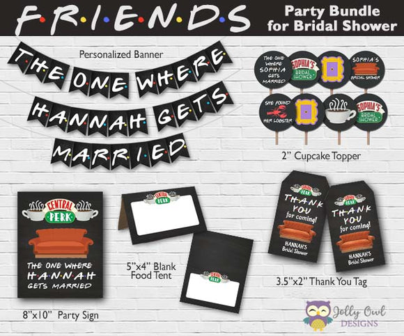 FRIENDS TV Party Bundle For Bridal Shower - Personalized