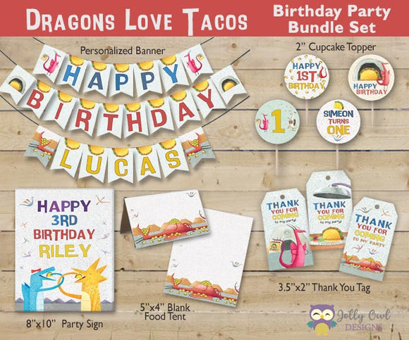 Dragons Love Tacos Birthday Party Bundle Set