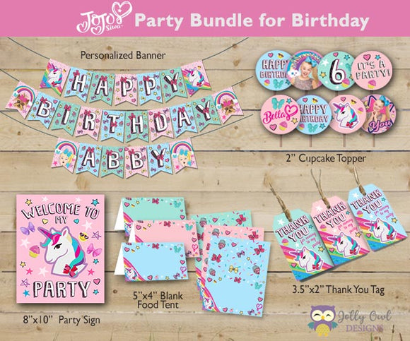 Jojo Siwa Party Bundle For Birthday - Personalized