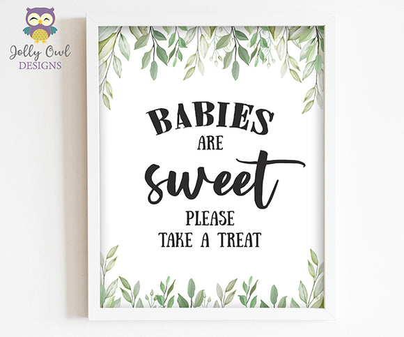Botanical Greenery Baby Shower Party Sign - Babies Are Sweet