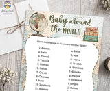 Match Baby Language - Baby Around The World Baby Shower Game Card