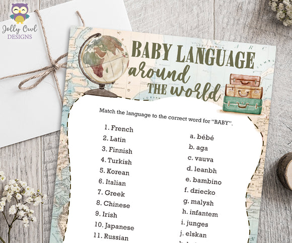 Baby Language Around The World -Travel Themed Baby Shower Game Card