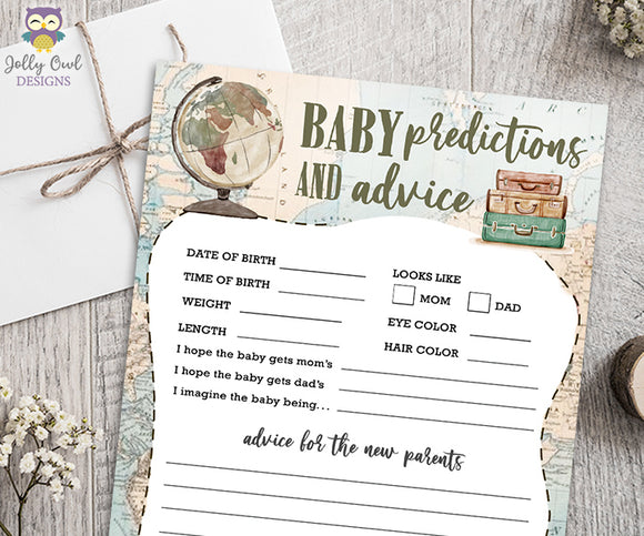 Baby Predictions and Advice for Travel Themed Baby Shower Game Activity