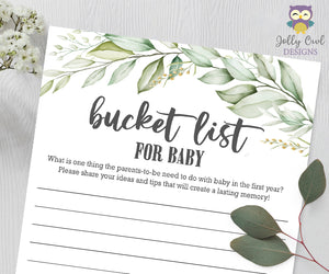 Botanical Greenery Baby Shower Game - Baby Bucket List