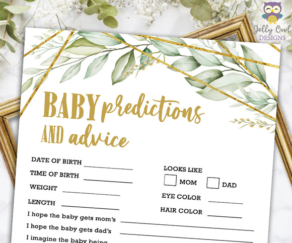Gold Geometric Botanical Greenery Baby Shower Game - Baby Predictions and Advice