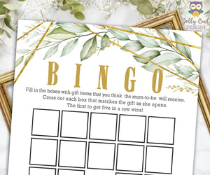 Gold Geometric Botanical Greenery Baby Shower Game - Baby BINGO