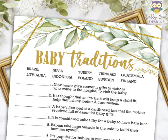 Gold Geometric Botanical Greenery Baby Shower Game - Baby Traditions Around The World