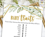 Gold Geometric Botanical Greenery Baby Shower Game - Baby Traits or Features