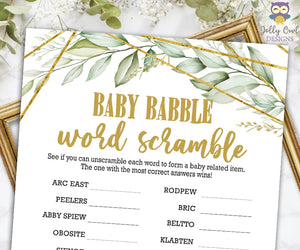 Gold Geometric Botanical Greenery Baby Shower Game - Baby Word Scramble