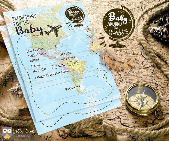 Baby Around The World Baby Shower Game Card - Baby Prediction