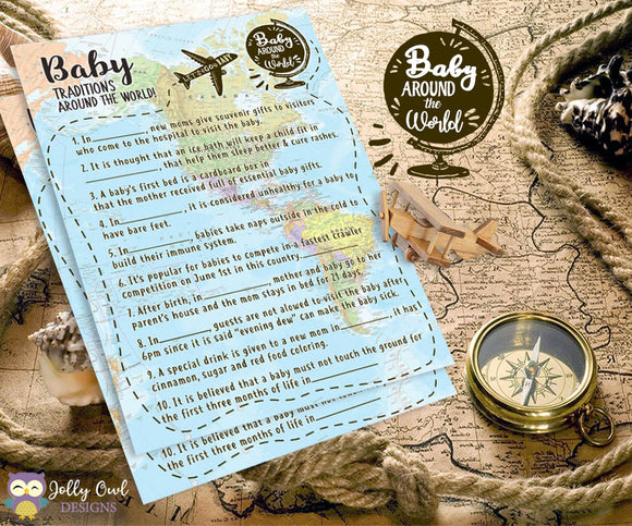 Baby Around The World Baby Shower Game Card - Baby Traditions