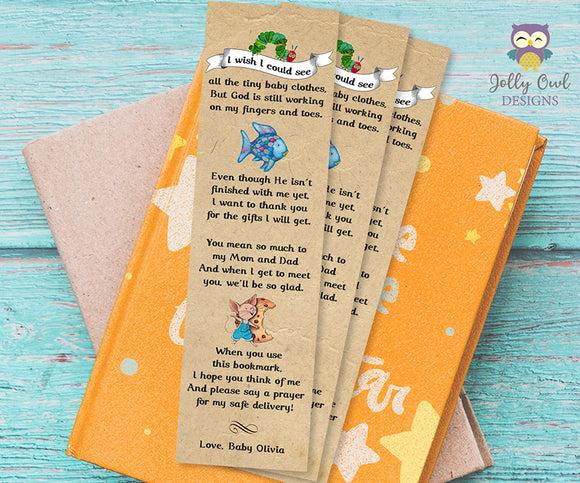 Storybook Themed Baby Shower Bookmark Poem