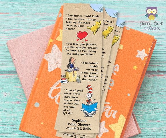 Storybook Themed Baby Shower Bookmark Famous Quotes