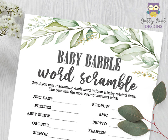 Botanical Greenery Baby Shower Game - Baby Word Scramble