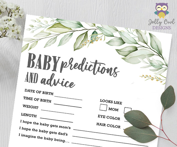 Botanical Greenery Baby Shower Game - Baby Predictions and Advice
