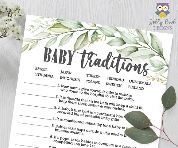 Botanical Greenery Baby Shower Game - Baby Traditions Around The World
